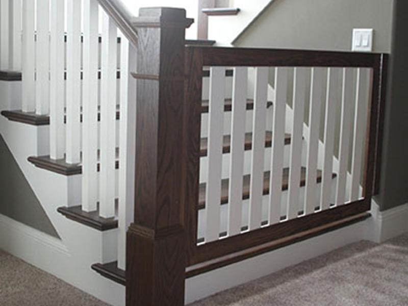 Custom espresso white stair gate